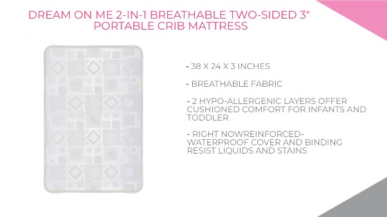 Dream On Me 2-in-1 Breathable Two-Sided 3 Portable Crib Mattress